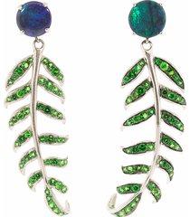 blue opal fern earrings