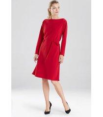 natori solid crepe dress, women's, red, size l natori