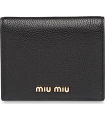 miu miu madras colour wallet - black