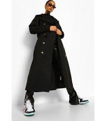oversized geweven trenchcoat met ceintuur, black