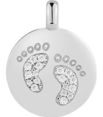 "charmbar swarovski zirconia footprint ""forever precious"" reversible charm pendant in sterling silver"