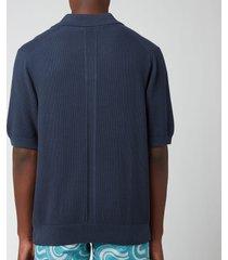frescobol carioca men's rino cotton silk blend polo shirt - navy - xl