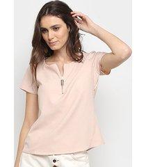 blusa acostamento zíper feminina