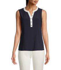 tommy hilfiger women's sleeveless blouse - midnight ivory - size l