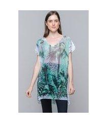 blusa 101 resort wear saida de praia estampada crepe decote v animal print verde