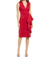 women's eliza j ruffle sleeveless body-con cocktail dress, size 8 - red