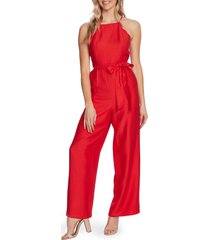 women's cece scalloped halter neck jumpsuit, size 14 - red