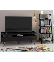 rack para tv até 65 polegadas madesa londres e estante escada preto
