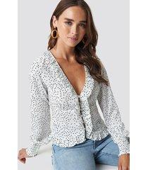 na-kd boho frill detail buttoned blouse - white