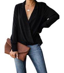 yoins abrigo negro diseño blusa de manga larga con cuello de muesca