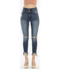 kancan high rise ankle skinny frayed hem double waistband jeans