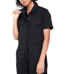 women's bp. + wildfang utility short sleeve jumpsuit, size x-large - black (regular & plus size) (nordstrom exclusive)