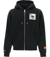 heron preston herons halo zip-up sweatshirt with hood