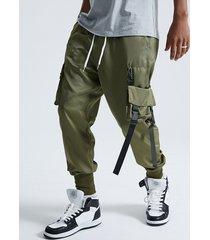 bolsillo con solapa de cinta de moda para hombre koyye carga pantalones
