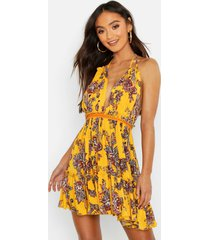 petite paisley embroidered skater dress, yellow