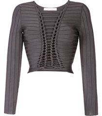 dion lee central braid knitted top - grey