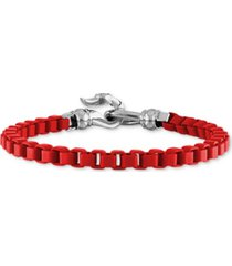 esquire men's jewelry box link chain bracelet in black enamel & stainless steel (also in red & blue enamel), created for macy's