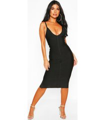 petite bandage v-neck bodycon dress, black