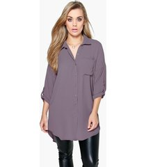 plus oversized blouse, grijs