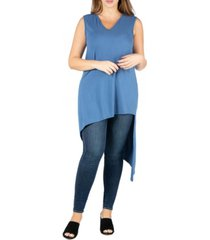 24seven comfort apparel women's plus size sleeveless asymmetric tunic top