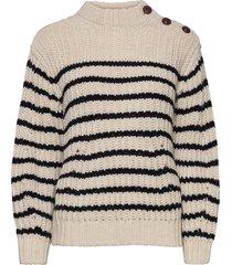 marlon awa striped pull rayé stickad tröja creme zadig & voltaire