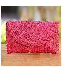 palm leaf clutch handbag, 'trance in ruby red' (indonesia)