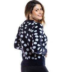 suéter negro con puntos blancos para mujer.