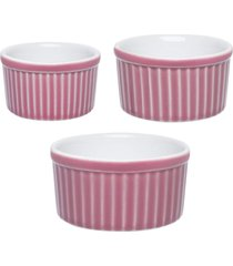 conjunto de 3 tigelas ramequin ramequin colorido branco/rosa