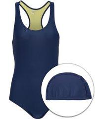 maiô para natação com touca oxer medley - adulto - azul esc/verde