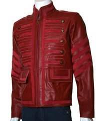 men maroon military leather jacket men military style jacket,men leather jacket