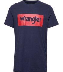 ss logo tee t-shirts short-sleeved blå wrangler