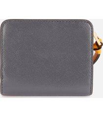 marc jacobs women's mini compact wallet - saddle brown multi