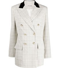 12 storeez double-breasted tweed jacket - white