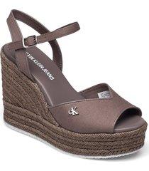 wedge sandal ankle strap co sandalette med klack espadrilles brun calvin klein