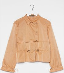 womens draw the line cropped trench coat - camel