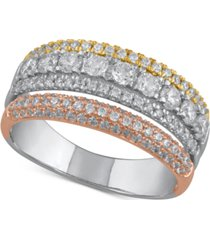 diamond tricolor statement ring (1 ct. t.w.) in 14k gold, white gold & rose gold