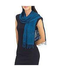 silk scarf, 'summer teal' (thailand)