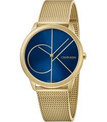 calvin klein men's minimal gold-tone pvd stainless steel mesh bracelet watch 40mm