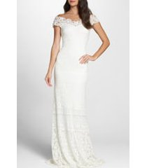 women's tadashi shoji off the shoulder illusion lace gown, size 00 - ivory