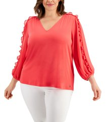calvin klein plus size watercolor cinched-sleeve v-neck top
