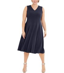 calvin klein plus size fit & flare midi dress