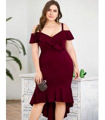 plus talla dobladillo burdeos con ribete ajustado vestido