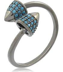 anel viva jolie pontas ajustáveis zircônias turquesa ródio negro