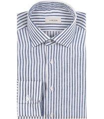 camicia da uomo su misura, albini, righe blu lino, primavera estate   lanieri