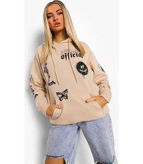 oversized hoodie met opdruk, stone