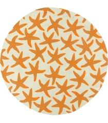 surya rain rai-1136 bright orange 8' round area rug, indoor/outdoor