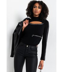 akira cold hearted long sleeve zipper detail bodysuit