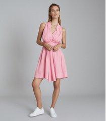 reiss carlotta - button through mini dress in pink, womens, size 14