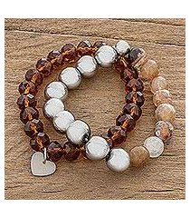 agate and crystal beaded stretch bracelets, 'earthy duo' (pair) (costa rica)