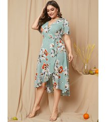 yoins plus talla cinturón diseño estampado floral cuello en v medias mangas vestido